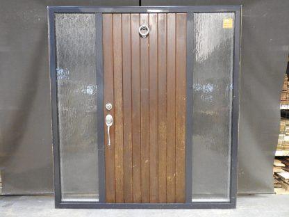 Dark Grey Ali Frame Wooden Door With Sidelights