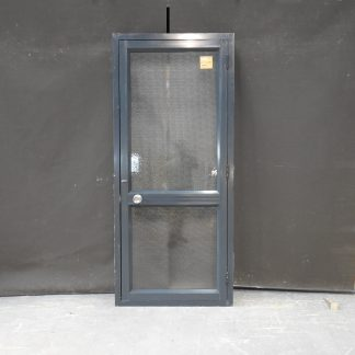 Blue / Grey Aluminium Door In Jamb - Obscure Glass - Opens Left Out
