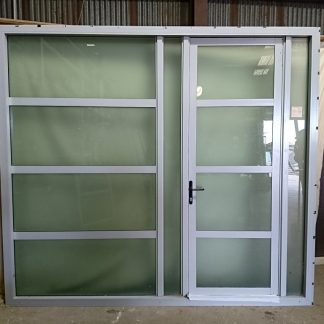 Silver pearl aluminium entry door