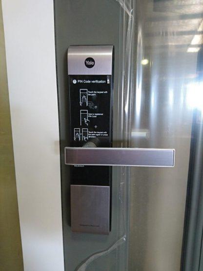 Appliance white double glazed aluminium entry door