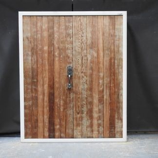Off White Aluminium Frame / Timber Double Door Entry W Key