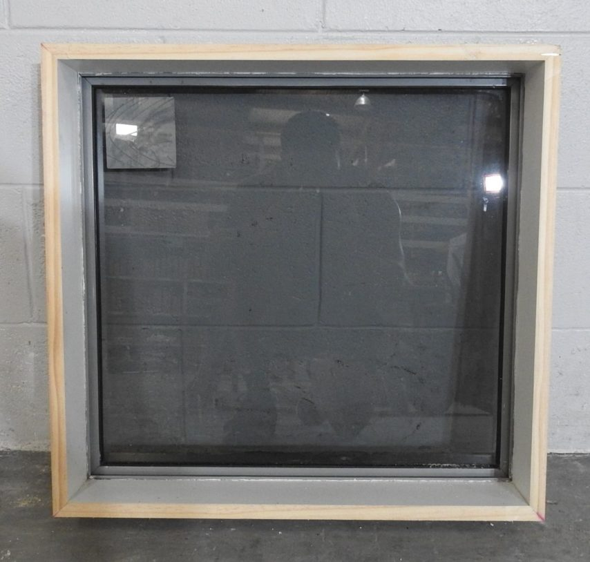Grey aluminium fixed window with tinted glass