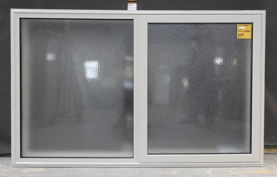 brand new 946a8 7ac04 O'keefe Grey Double Glazed Ali Awning Window With Obscure Glass  H970mmxW1580mm NL4490
