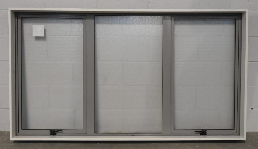 Grey Aluminium double awning window with obscure safety glass